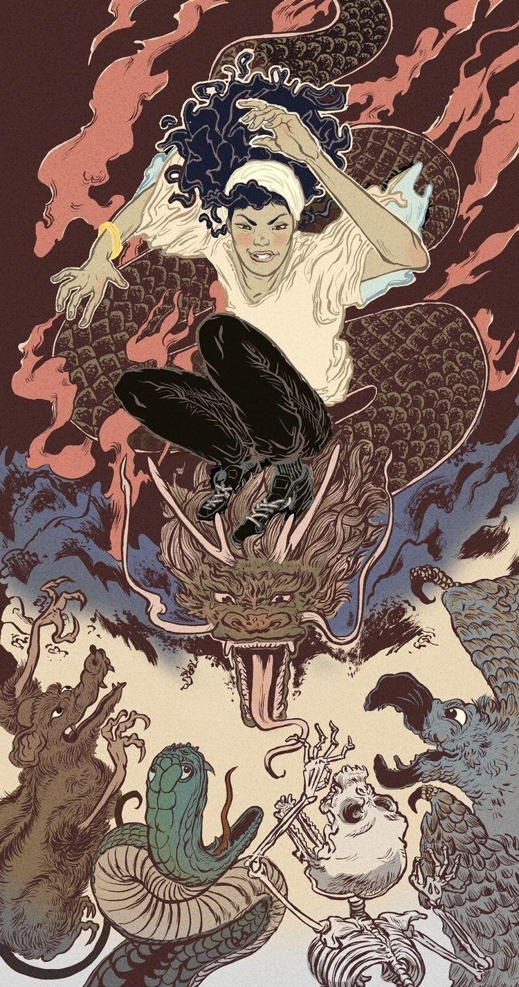 evil - illustration, ukiyoe - louievalley | ello
