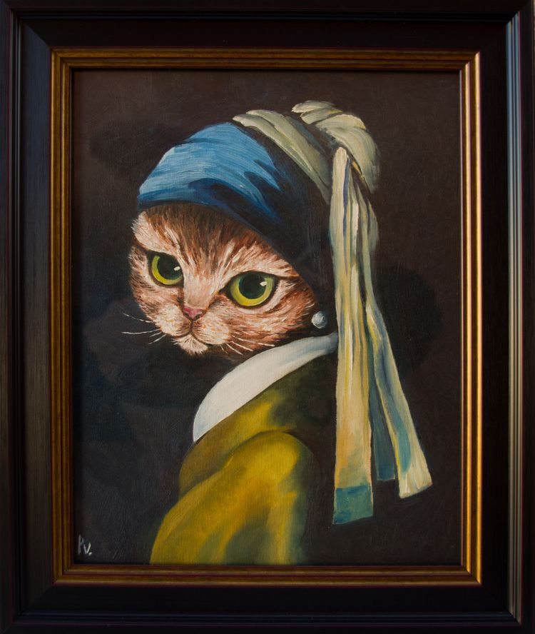 cat pearl earring Oil canvas 11 - patitasvagabundas | ello