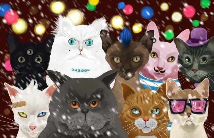 christmas cats - illustration, artwork - mrbraintree | ello