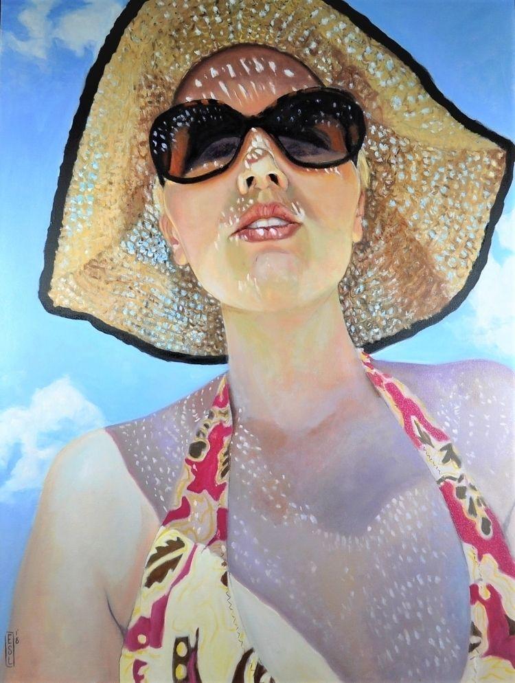 Sun-dappled oil canvas 40 30 - selfportrait - ellenstarrlyon | ello
