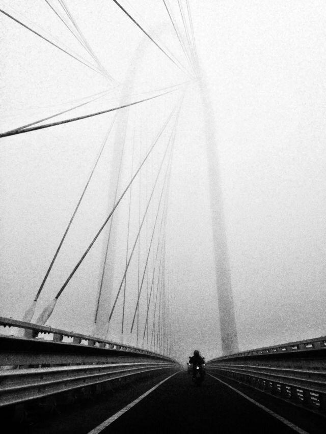 Riding fog - biker, bridge, italy - blackmilkart | ello