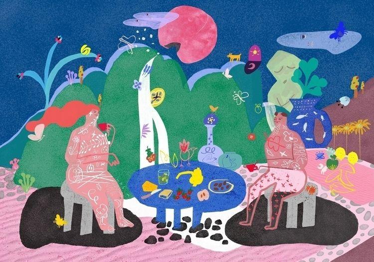 Tea time peach moon - illustration - draw_spring   ello