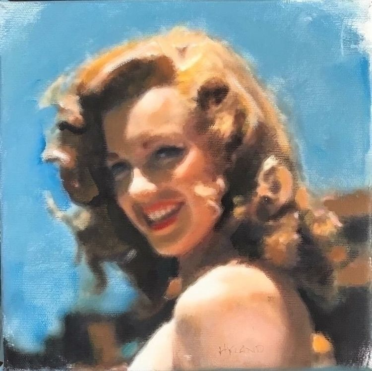 Norma Jean (8x8 inches, oil pen - johnnyhyland | ello
