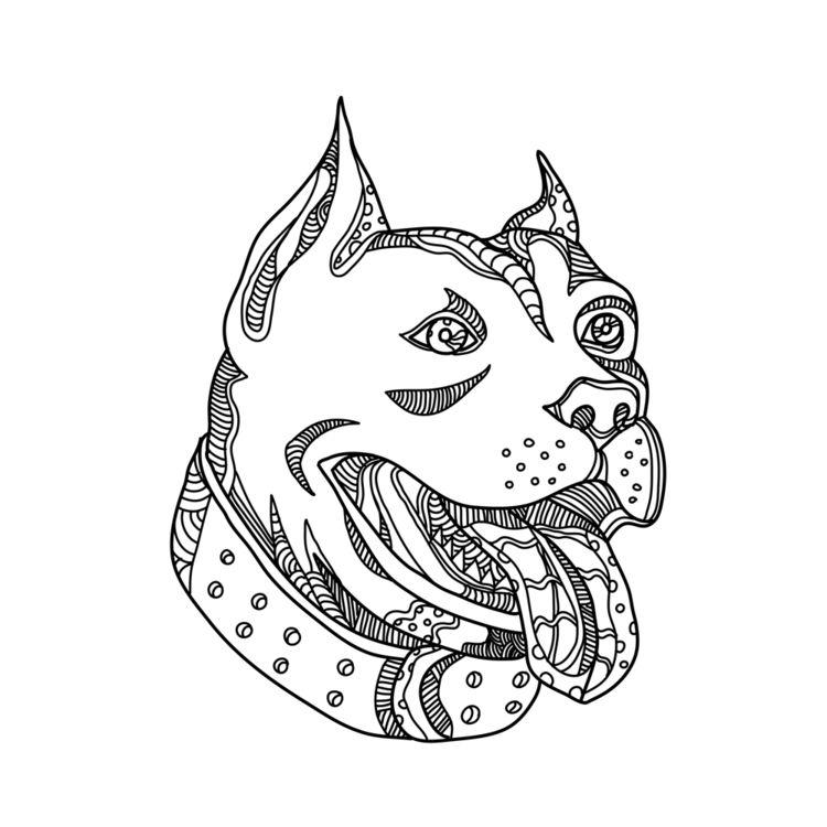 Pit Bull Head Doodle Art - PitBullHead - patrimonio   ello