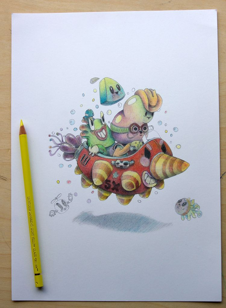 Bubble racer. colored pencil pa - bubblefriends | ello