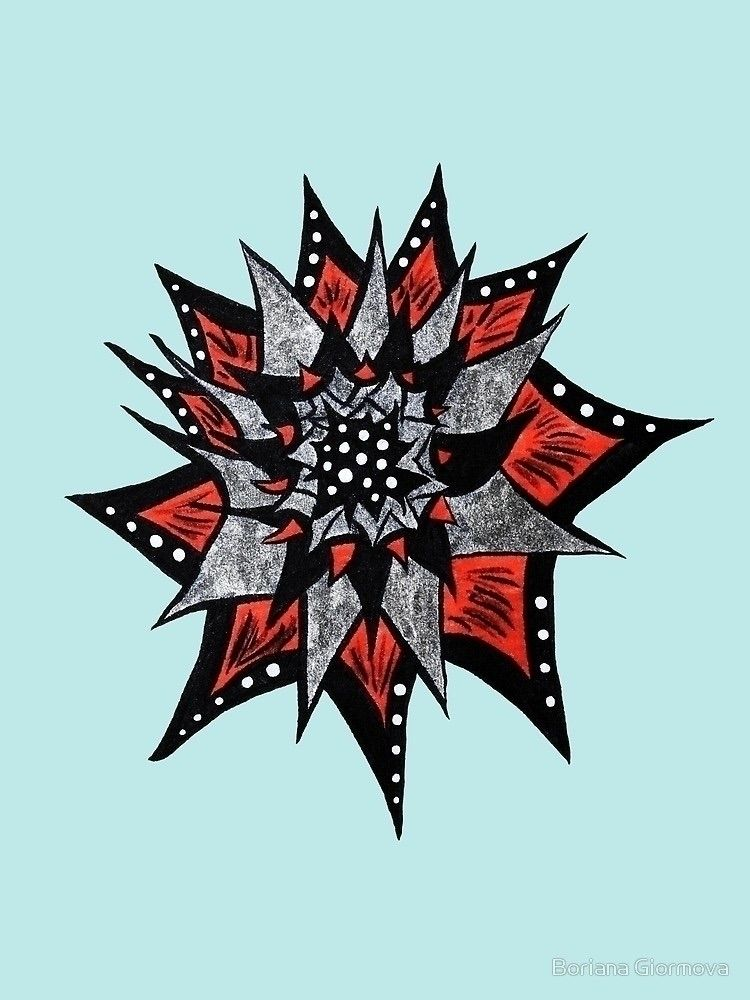 Spiked ink flower - illustration - borianag | ello