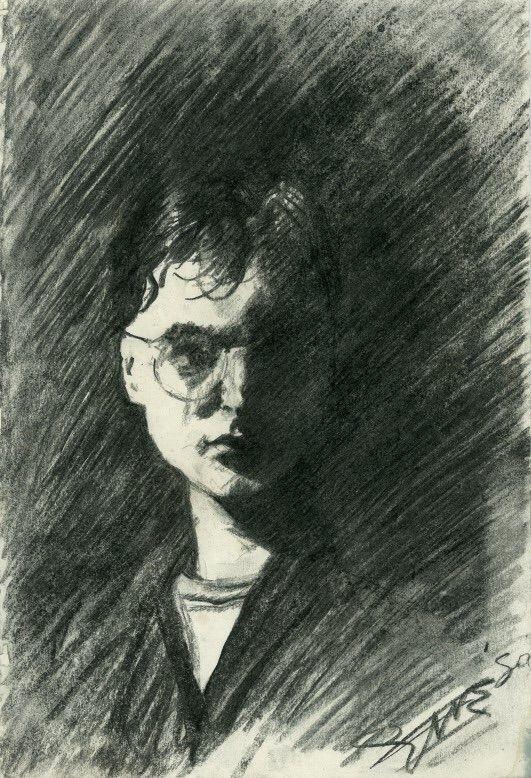 portrait (1990) Charcoal drawin - corneakkers | ello