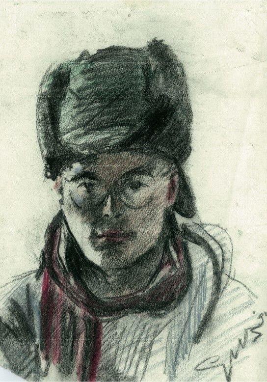 portrait fur hat (1991) Pastel  - corneakkers | ello