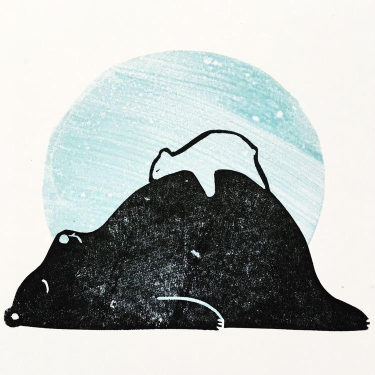 Card born - linocut, lino, reliefprint - studiomalu | ello