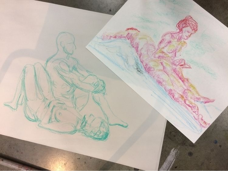 Double model study oil pastels - bridufresne | ello