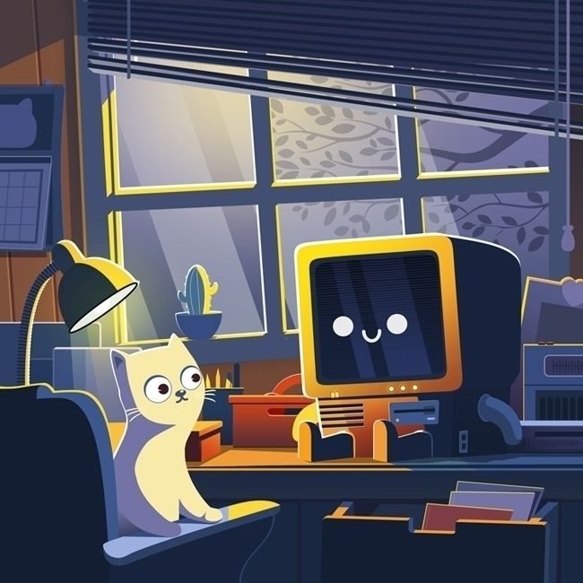 nighter - illustration, cat, robot - bo0nsai | ello