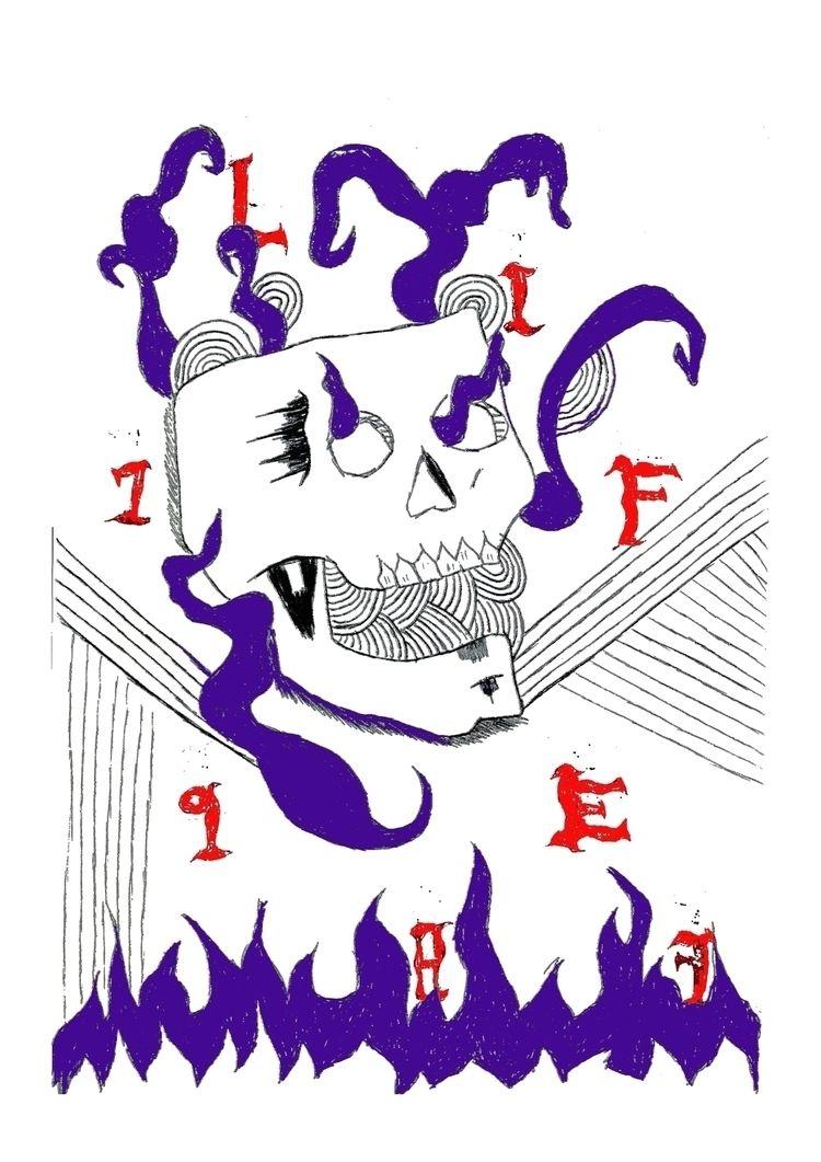 1987, skull, illustration - lazybastard | ello