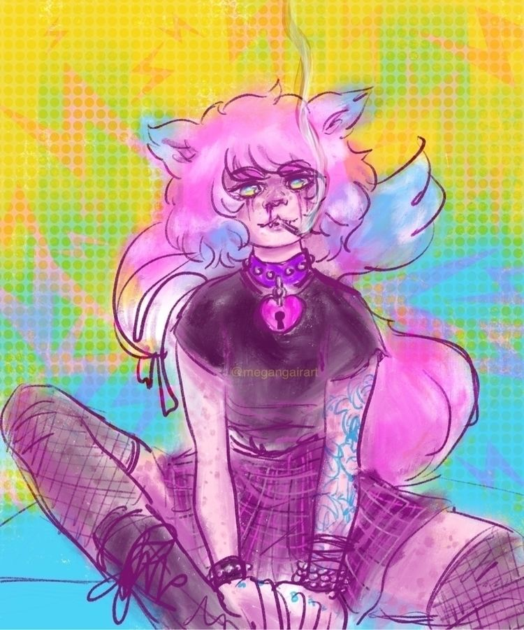punk bubblegum kitty sketch:sku - megangairart | ello