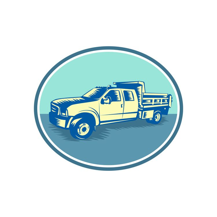 Tipper Truck Oval Woodcut - Pick-upTruck - patrimonio | ello