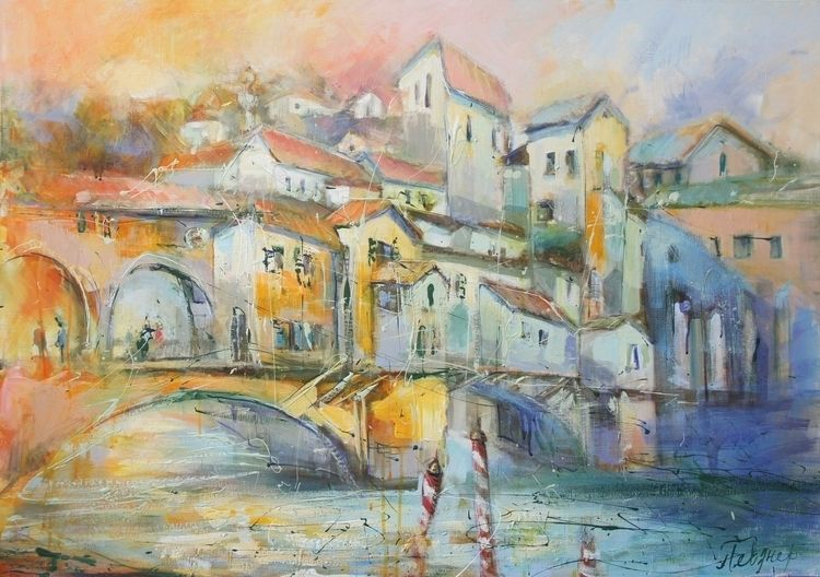 Ponte Vecchio, abstract acrylic - natashapevzner | ello
