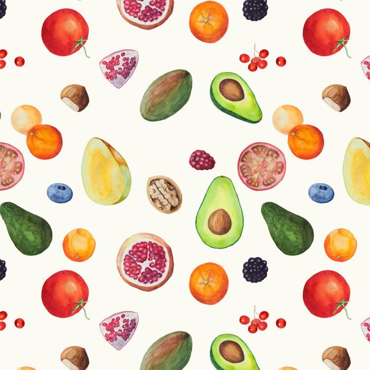 Watercolor fruit patterns - juanjogasp   ello
