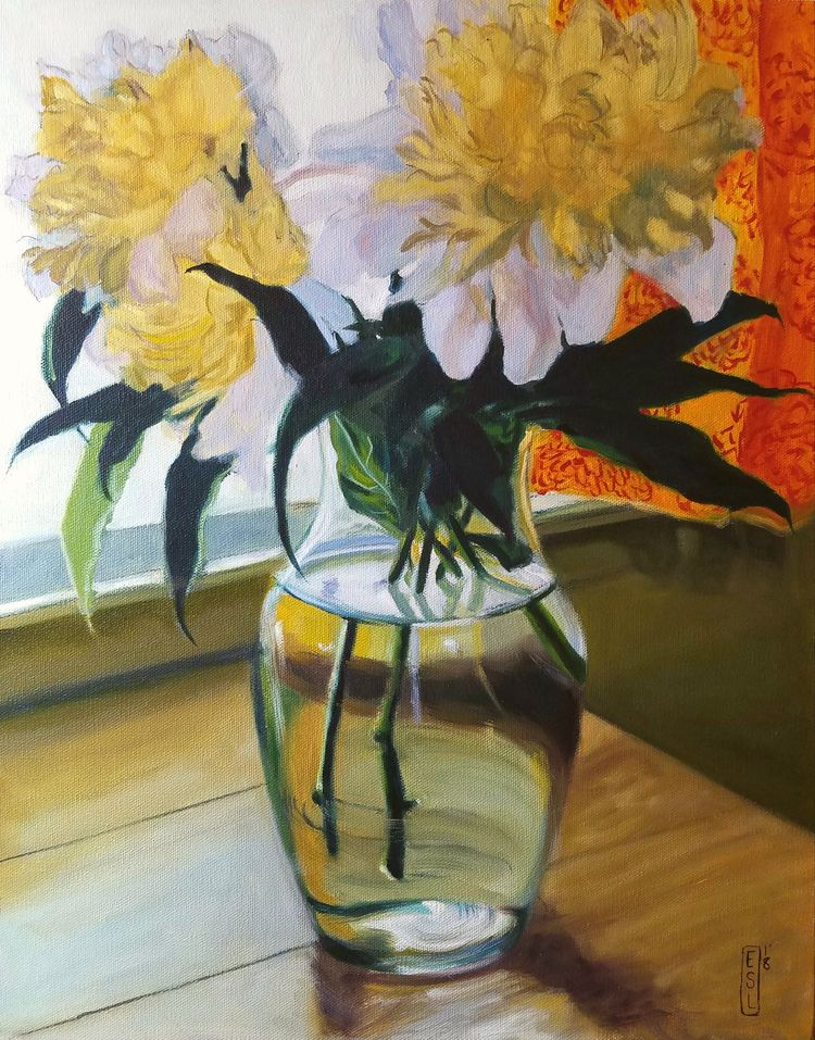 Lit peonies Golden Light 20 16  - ellenstarrlyon | ello