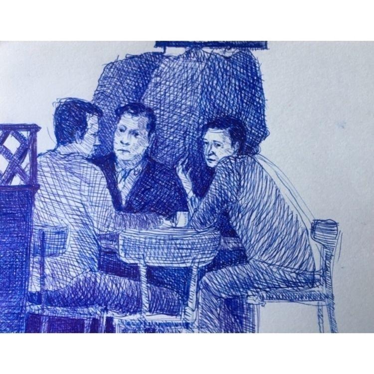 sketch - ink, blue, fountainpen - yuliavirko | ello