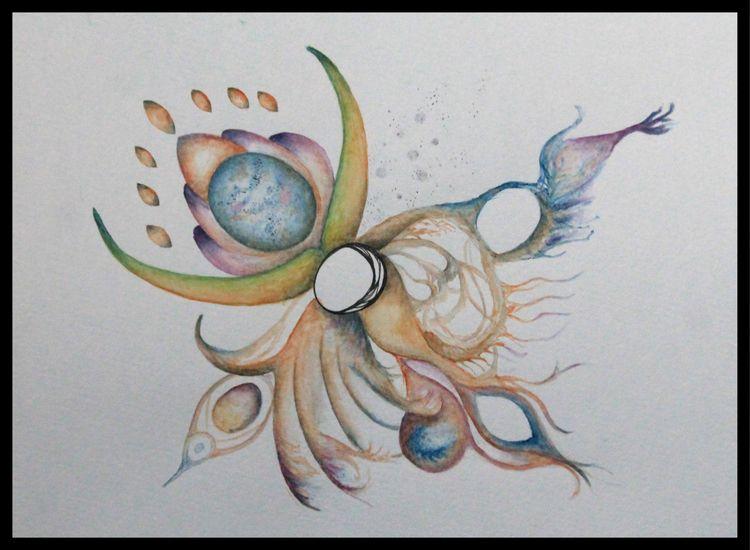 Life Watercolor ink paper - abstract - disgruntledpeon | ello