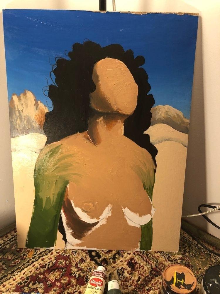 Working - woman, desert, unfinished - izzyvp | ello