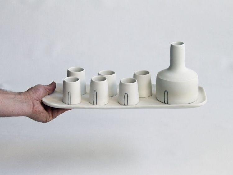 Cream ceramic Raki set. bottle - creamthat | ello