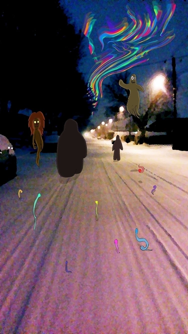 Snow Road lights - Montreal, suburb - mangekkojones | ello