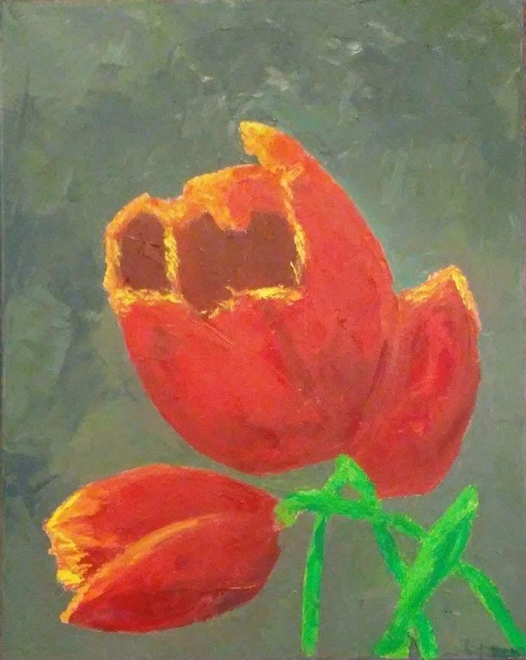 Red Tulips 16x20 oil cavas - robinccpoole | ello