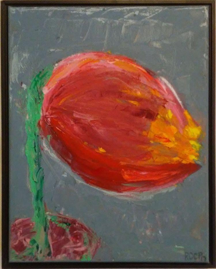 Tension Red 14x11 Oil Canvas - robinccpoole   ello