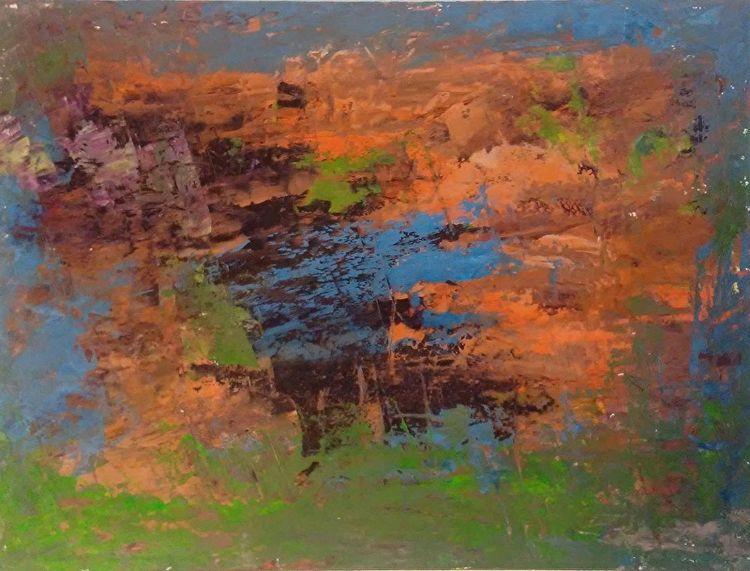 Sunset Green 9x12 Oil Paper - robinccpoole   ello