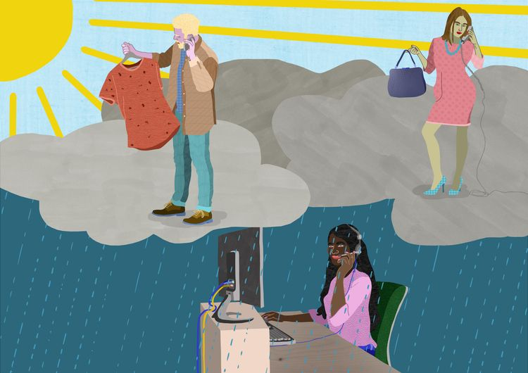 Working callcentre... clouds - illustration - ellis__d | ello