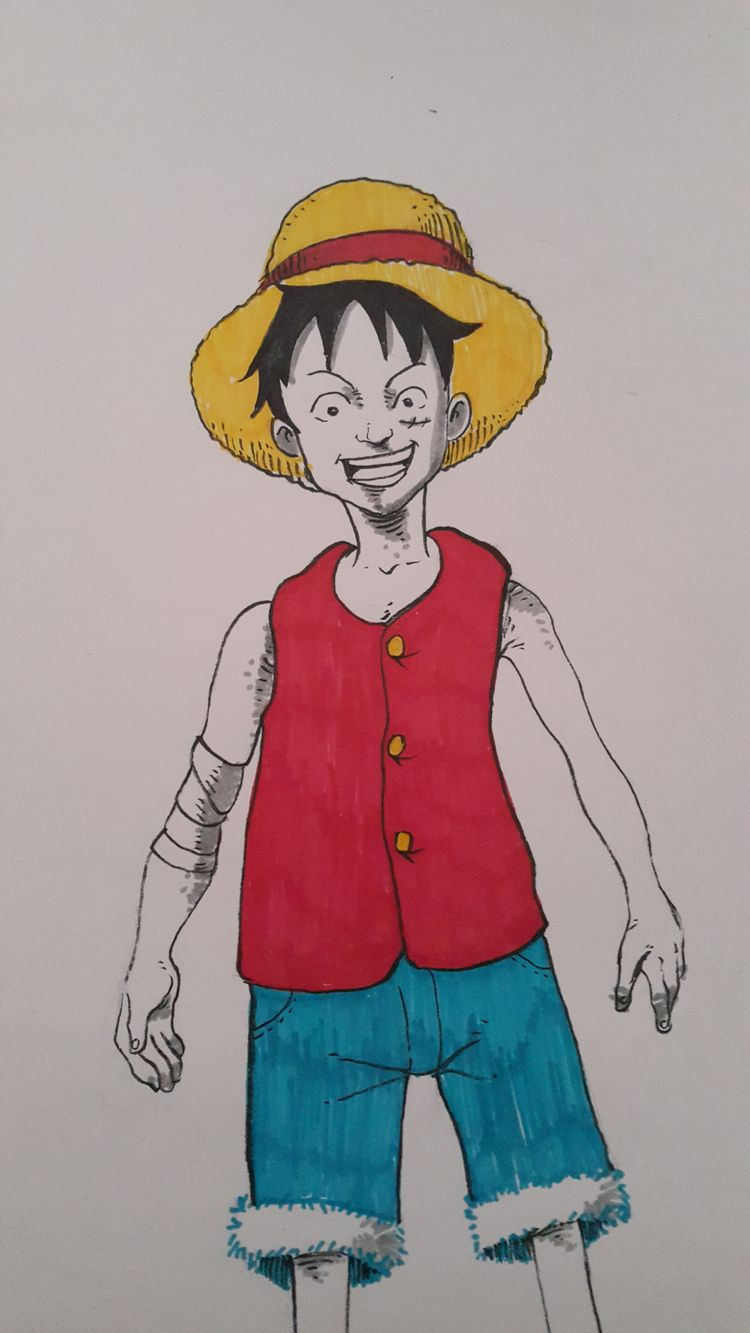 luffy style - onepiece, anime, ink - nkdk | ello