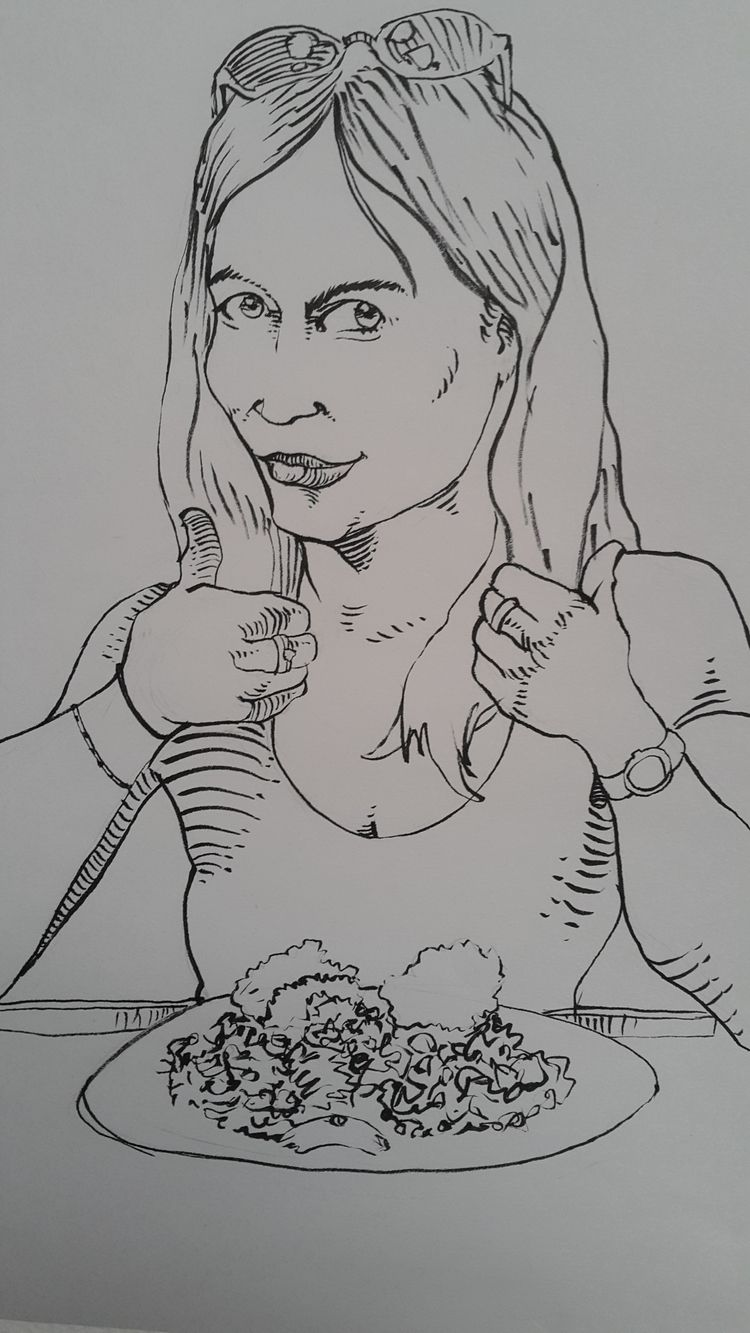 ink draw girl eating mexican fo - nkdk | ello