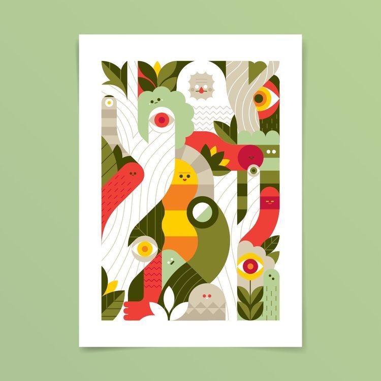 Jungle - print, poster, jungle, plants - louloutummie | ello