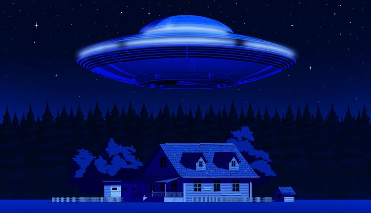 UFO - ufo, house, trees, night, stars - valerazaryta | ello