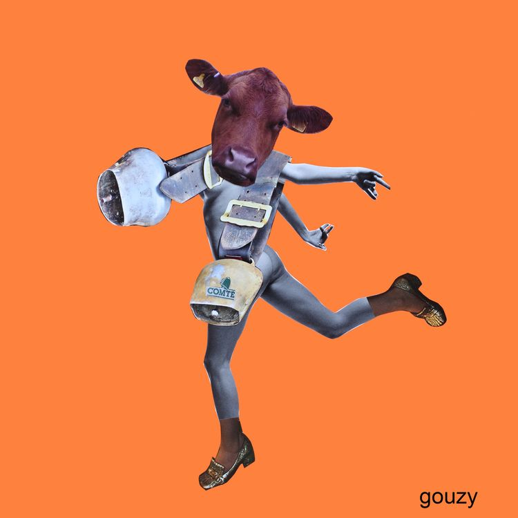 bells cow - collage, handmade, surrealist - gouzy   ello