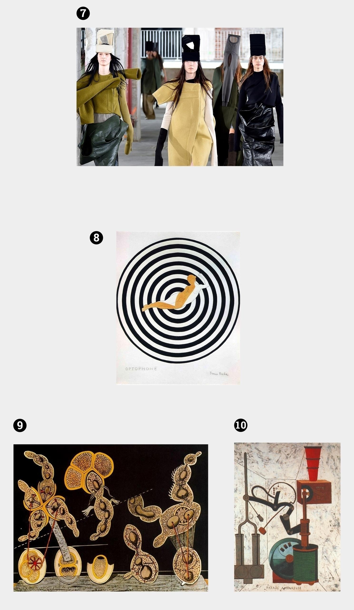 Obraz przedstawia cztery fotografie. Widzimy trzy prace znanych artystów i jedno zdjęcie przedstawiające pokaz mody.