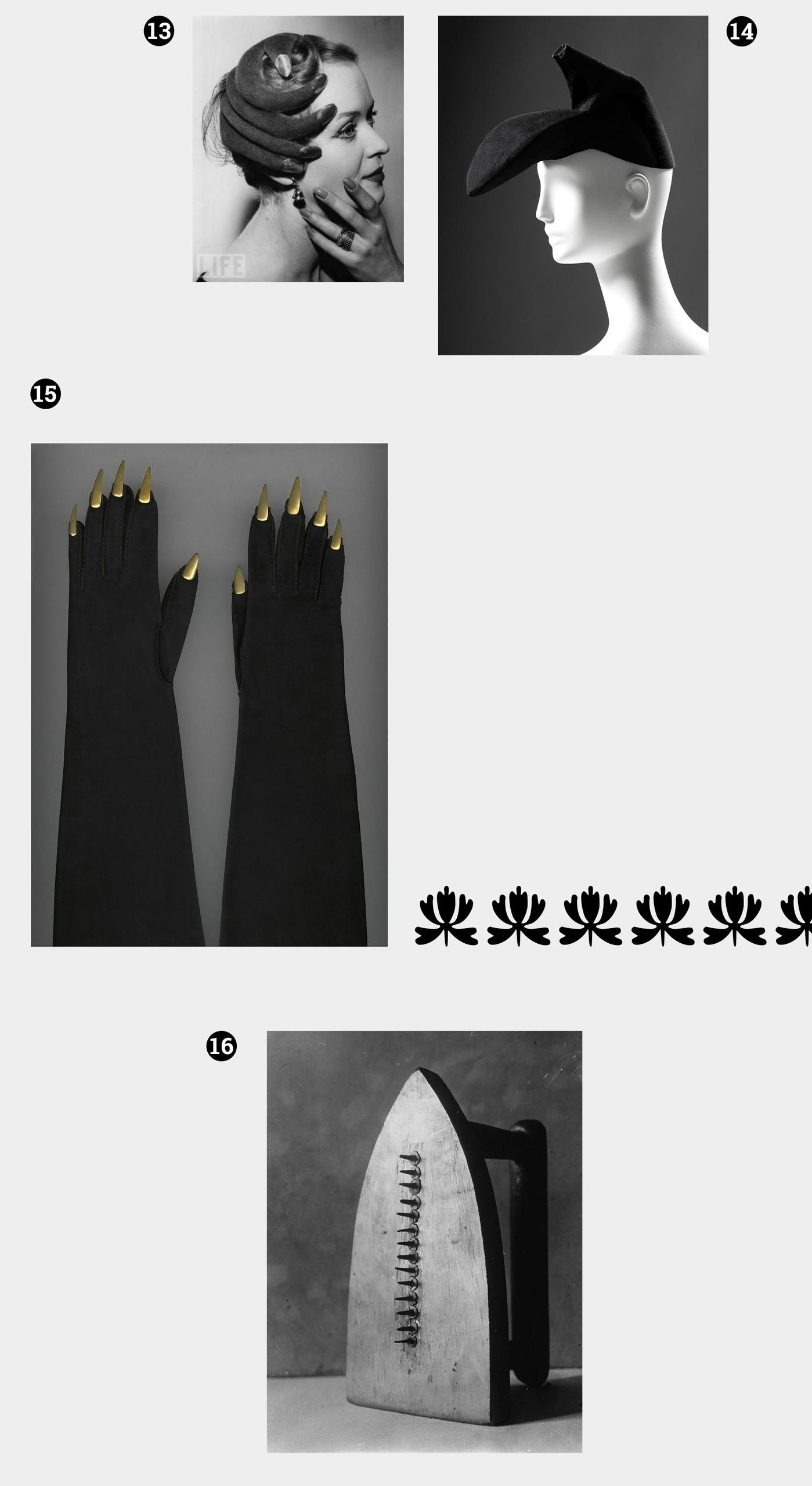 Obraz przedstawia cztery fotografie różnych przedmiotów oraz graficzny ornament roślinny. Wszystko na jasnoszarym tle.