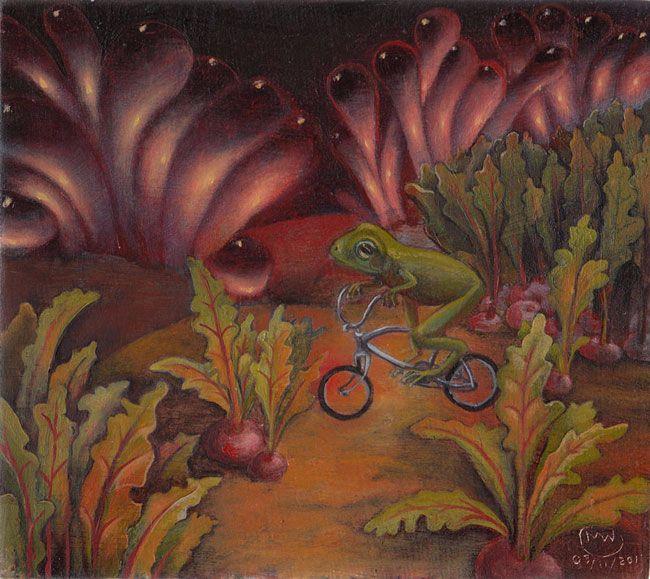 Beet, greens bicycles. Oil pane - myklwells | ello