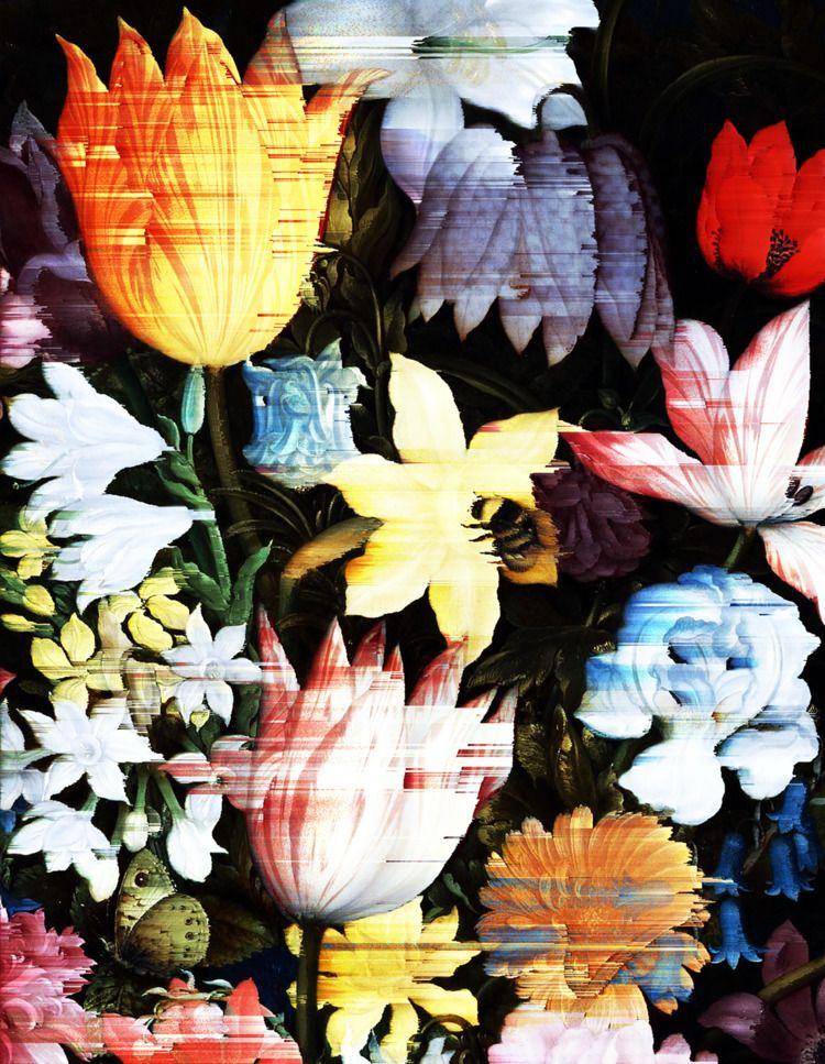flowers - glitchart, pixelsorting - lavenderhearts | ello