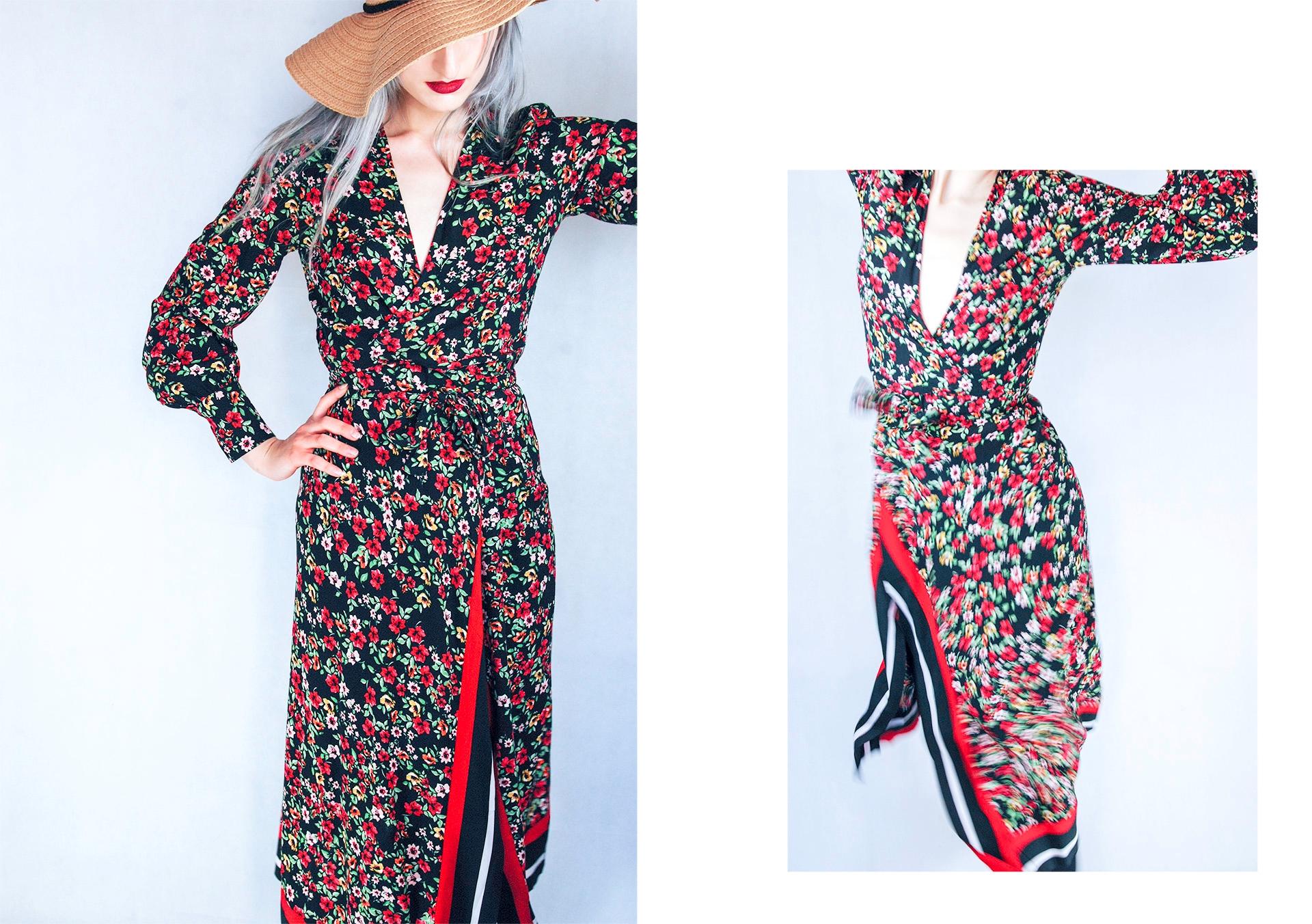 Obraz przedstawia dwa zdjęcia modelki ubranej w długą sukienkę w kwiaty. Widzimy także fragment kapelusza, czerwone usta i siwe włosy.