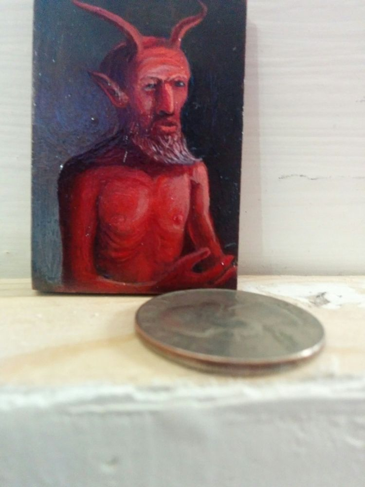 El Diablo, minature, oil panel - myklwells | ello