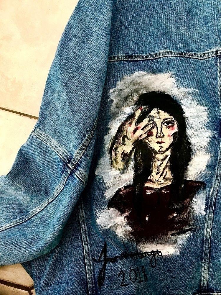 Denim works - denim, paint, fabric - jannatli   ello