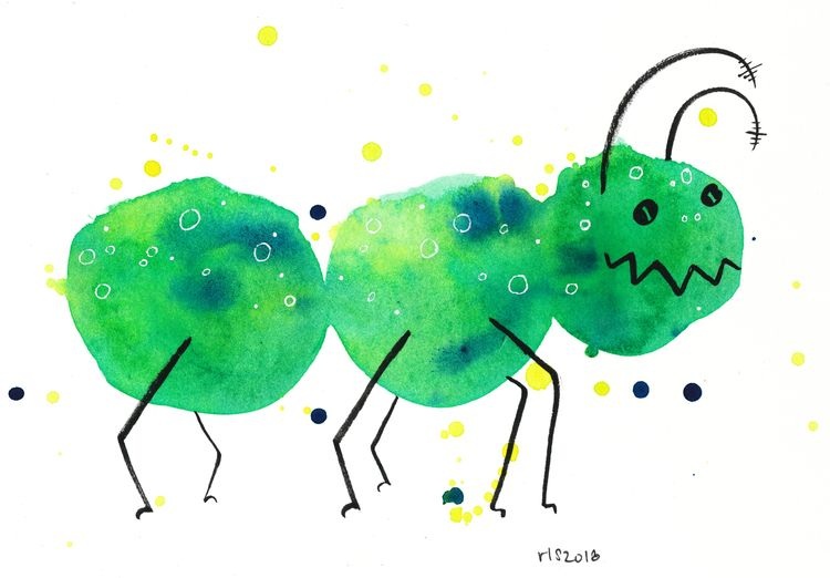 home bug, drunk - watercolor, illustration - reneeleigh | ello
