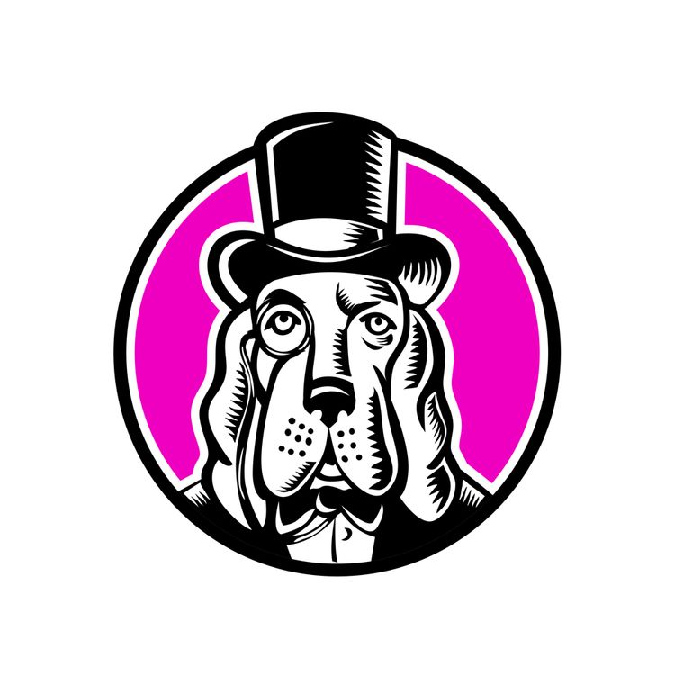 Basset Hound Monocle Top Hat - BassetHound - patrimonio | ello