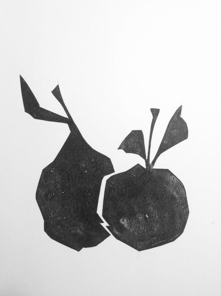 Pear apple night Linocut 30х20c - maler_malyar | ello