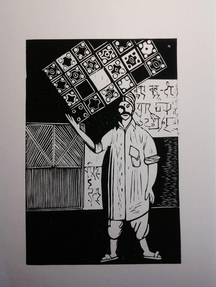 Head main Linocut 30х40cm 4/6 - Linocutprint - maler_malyar | ello