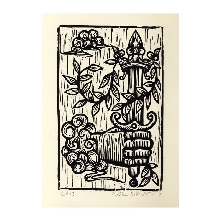Ace Swords Tarot, Woodcut Print - horseandhare | ello