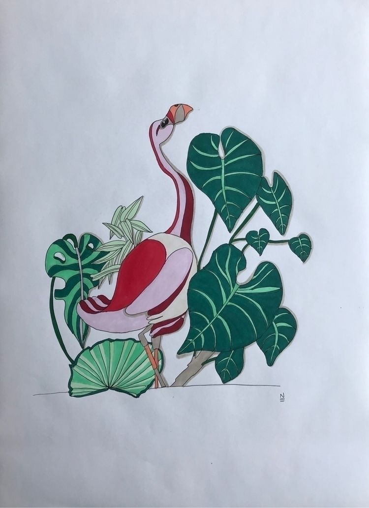 Pink flamingo tropical plants.  - naomilittle | ello