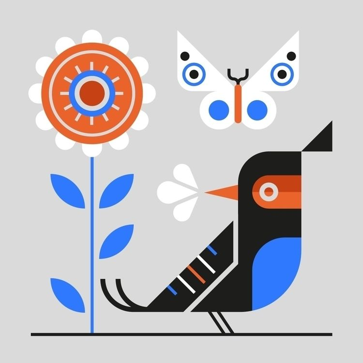 Nature. 🦋:bird::blossom - illustration - dannygreaves | ello