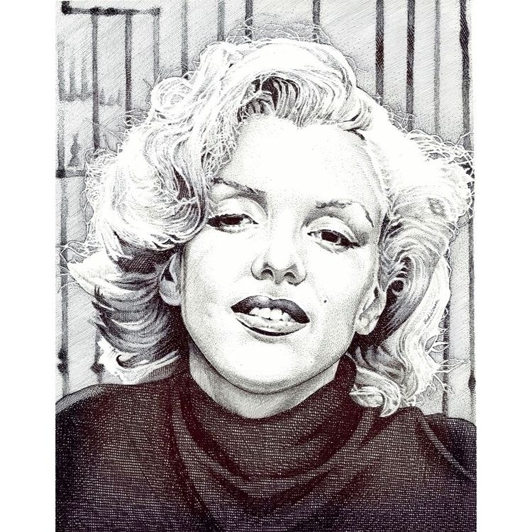 iconic Marilyn Monroe. pen ink  - bobweaver | ello